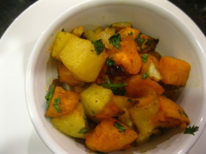 Roasted Sweet and White Potatoes with Lemon and Cilantro