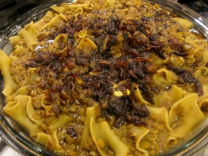 Reshta - Stewed Lentils and Noodles with Tangy Caramelized Onions | The Levantess